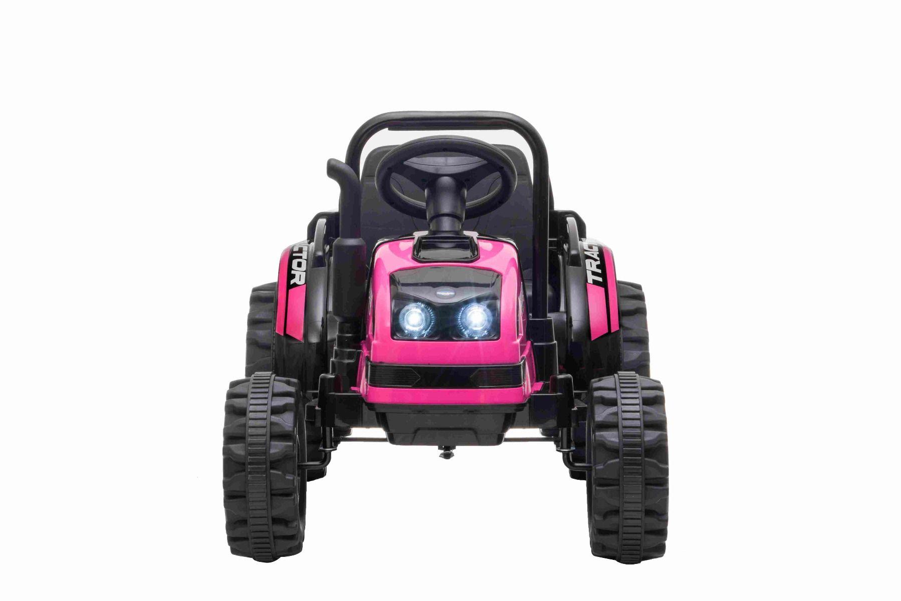 Elektrický Traktor POWER s vlečkou, ružový, Pohon zadných kolies, 12V batéria, Plastové kolesá, Odpruženie predných kolies, široké sedadlo, 2,4 GHz Diaľkový ovládač, Jednomiestne, MP3 prehrávač, LED Svetlá