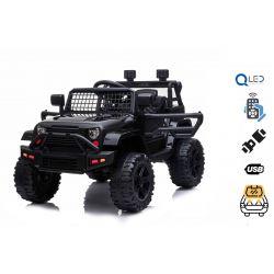 Elektrické autíčko OFFROAD s pohonom zadných kolies, čierne 12V batéria, Vysoký podvozok, široké sedadlo, Odpružené nápravy, 2,4 GHz Diaľkový ovládač, MP3 prehrávač so vstupom USB/SD, LED svetlá