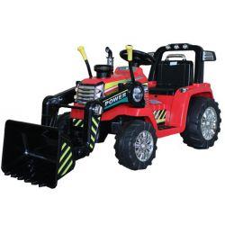 Elektrický Traktor MASTER s naberačkou, červený, Pohon zadných kolies, 12V batéria, Plastové kolesá, 2 X 35W Motor, široké sedadlo, 2,4 GHz Diaľkový ovládač, Jednomiestne, MP3 prehrávač so vstupom Aux
