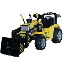Elektrický Traktor MASTER s naberačkou, žltý, Pohon zadných kolies, 12V batéria, Plastové kolesá, 2 X 35W Motor, široké sedadlo, 2,4 GHz Diaľkový ovládač, Jednomiestne, MP3 prehrávač so vstupom Aux