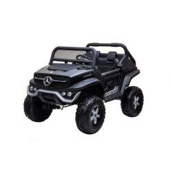 Elektrické autíčko Mercedes Unimog čierny, Pohon 4x4, 12V/14Ah, EVA kolesá, široké dvojmiestne sedadlo,  2,4 GHz Dialkový Ovládač, 4 X MOTOR, Dvojmiestne, USB, Bluetooth