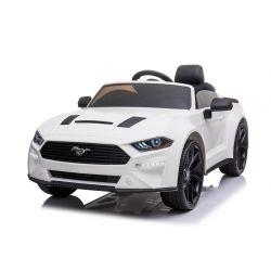 Elektrické autíčko Ford Mustang 24V, biele, Mäkké EVA kolesá, Motory: 2 x 16 000 otáčok, 24V Batéria, LED Svetlá, 2,4 GHz dialkové ovládanie, MP3 Prehrávač, ORIGINAL licencia
