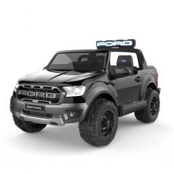 Elektrické autíčko Ford Raptor, čierne, Kvalitné odpruženie, LED svetlá, plastové sedadlo, 2,4 GHz DO, kľúč, 4 X MOTOR, Dvojmiestne, USB, SD karta, ORIGINAL licencia