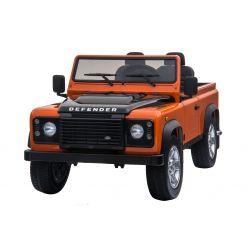 Elektrické autíčko Land Rover Defender, oranžové, Pohon 4x4, 2x 12V7AH, EVA kolesá, Čalúnené sedadlo, 2,4 GHz Dialkový Ovládač, USB/TF vstup, Dvojmiestne