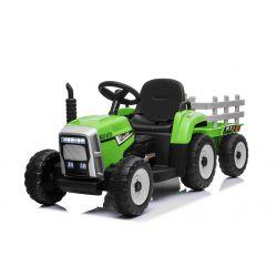 Elektrický Traktor WORKERS s vlečkou, zelený, Pohon zadných kolies, 12V batéria, Plastové kolesá, široké sedadlo, 2,4 GHz Diaľkový ovládač, Jednomiestne, MP3 prehrávač so vstupom USB/SD, LED Svetlá, Bluetooth