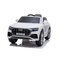 Elektrické autíčko Audi Q8, 12V, 2,4 GHz dialkové ovládanie, USB / SD Vstup, LED svetlá, 12V batéria, mäkké EVA kolesá, 2 X MOTOR, biele, ORIGINÁL licencia