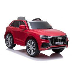Zánovné elektrické autíčko Audi Q8, 12V, 2,4 GHz dialkové ovládanie, USB / SD Vstup, LED svetlá, 12V batéria, mäkké EVA kolesá, 2 X MOTOR, červené, ORIGINÁL licencia
