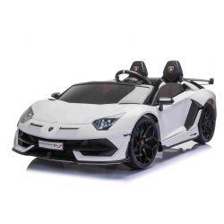 Elektrické autíčko Lamborghini Aventador 12V Dvojmiestne, Biele, 2,4 GHz dialkové ovládanie, USB / SD Vstup, odpruženie, vertikálne otváravé dvere, mäkké EVA kolesá, 2 X MOTOR, ORIGINAL licencia