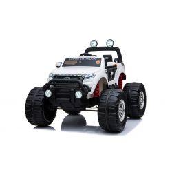 Zánovné elektrické autíčko Ford Ranger Monster Truck 4X4, biele, Dialkový ovládač 2.4Ghz, Plynulí rozbeh, USB/Radio/SD/MP3 vstup s Bluetooth pripojením, Ukazovatel kapacity batérie, Obrovské EVA kolesá, Odpružené, LED svetlá, prenostná batéria
