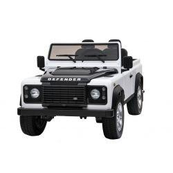 Elektrické autíčko Land Rover Defender, biele, Pohon 4x4, 2x 12V7AH, EVA kolesá, Čalúnené sedadlo, 2,4 GHz Dialkový Ovládač, USB/TF vstup, Dvojmiestne