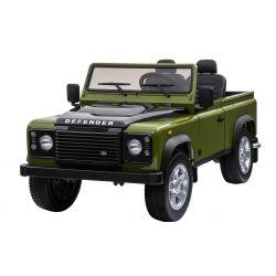 Zánovné Elektrické autíčko Land Rover Deffender, zelené, Pohon 4x4, 2x 12V7AH, EVA kolesá, Čalúnené sedadlo, 2,4 GHz Dialkový Ovládač, USB/TF vstup, Dvojmiestne