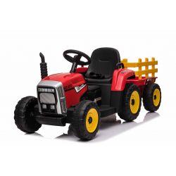 Elektrický Traktor WORKERS s vlečkou, červený, Pohon zadných kolies, 12V batéria, Plastové kolesá, široké sedadlo, 2,4 GHz Diaľkový ovládač, Jednomiestne, MP3 prehrávač so vstupom USB/SD, LED Svetlá, Bluetooth