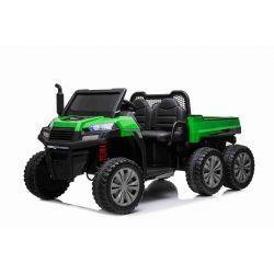 Farmárske elektrické autíčko RIDER 6X6 s pohonom štyroch kolies, 2x12V batéria, EVA kolesá, široké dvojmiestne sedadlo, Odpružené nápravy, 2,4 GHz Diaľkový ovládač, Dvojmiestne, MP3 prehrávač so vstupom USB/SD, Bluetooth