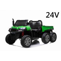 Farmárske elektrické autíčko RIDER 6X6 24V s pohonom štyroch kolies 4X 100W, 24V/7ah batéria, EVA kolesá, široké dvojmiestne sedadlo, Odpružené nápravy, 2,4 GHz Diaľkový ovládač, Dvojmiestne, MP3 prehrávač so vstupom USB/SD, Bluetooth