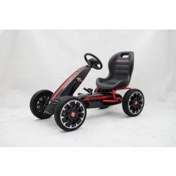 ABARTH Gokart na pedály - Šľapacia motokára s voľnobehom, čierna, Eva kolesá, ORGINAL licencia