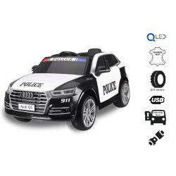 Elektrické autíčko Audi Q5 Policajné, 2,4 GHz DO, 2 X 40W MOTOR, Jednomiestne, čierne, USB, SD karta, Kožené sedadlo, Eva kolesá, ORIGINAL licencia