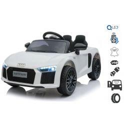 Elektrické autíčko Audi R8 small, 12V, 2,4 GHz dialkové ovládanie, USB / SD Vstup, odpruženie, 12V batéria, mäkké EVA kolesá, 2 X MOTOR, biele, ORIGINAL licencia