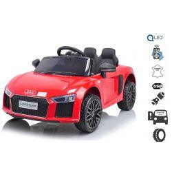 Elektrické autíčko Audi R8 small, 12V, 2,4 GHz dialkové ovládanie, USB / SD Vstup, odpruženie, 12V batéria, mäkké EVA kolesá, 2 X MOTOR, červené, ORIGINAL licencia