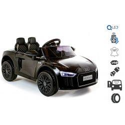 Elektrické autíčko Audi R8 small, 12V, 2,4 GHz dialkové ovládanie, USB / SD Vstup, odpruženie, 12V batéria, mäkké EVA kolesá, 2 X MOTOR, čierne, ORIGINAL licencia