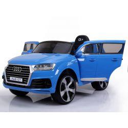 Elektrické autíčko Audi Q7, modré lakované, EVA kolesá, Jednomiestne sedadlo, 12V, 2,4 GHz DO, 2XMOTOR, USB, SD karta, ORGINAL licencia