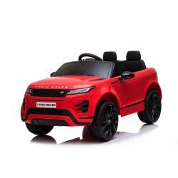 Zánovné elektrické autíčko Range Rover EVOQUE, Jednomiestne, červené, Kožené sedadlá, MP3 Prehrávač s prípojkou USB/SD, Pohon 4x4, Batéria 12V10AH, EVA kolesá, Odpružené nápravy, Kľúčové trojpolohové štartovanie, 2,4 GHz Bluetooth Dialkový Ovládač,