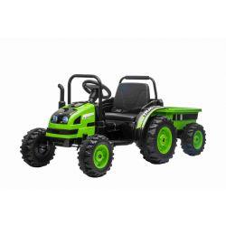 Elektrický Traktor POWER s vlečkou, zelený, Pohon zadných kolies, 12V batéria, Plastové kolesá, Odpruženie predných kolies, široké sedadlo, 2,4 GHz Diaľkový ovládač, Jednomiestne, MP3 prehrávač, LED Svetlá