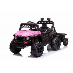 Elektrické autíčko RSX mini s vlečkou, ružové, Pohon zadných kolies, 12V batéria, Plast kolesá, široké sedadlo, 2,4 GHz Diaľkový ovládač, Jednomiestne, MP3 prehrávač so vstupom USB/SD, LED Svetlá