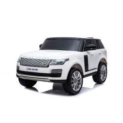 Elektrické autíčko Range Rover, Dvojmiestne, biele, Kožené sedadlá, LCD Displej so vstupom USB, Pohon 4x4, 2x 12V7AH, EVA kolesá, Odpružené nápravy, Kľúčové trojpolohové štartovanie, 2,4 GHz Bluetooth Dialkový Ovládač