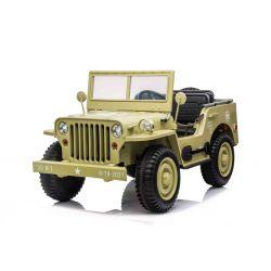 Elektrické autíčko USA ARMY 4X4, žlté, Trojmiestne, MP3 Prehrávač so vstupom USB/SD, Odpružené náprvy, LED svetlá, Sklápacie čelné sklo, 12V14AH, EVA kolesá, Čalúnené sedadlá, 2,4 GHz Diaľkový ovládač, 4 x 4 Pohon