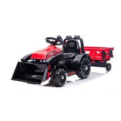 Elektrický Traktor FARMER s naberačkou a vlečkou, červený, Pohon zadných kolies, 12V batéria, Plastové kolesá, široké sedadlo, 2,4 GHz Diaľkový ovládač, Jednomiestne, MP3 prehrávač, LED Svetlá