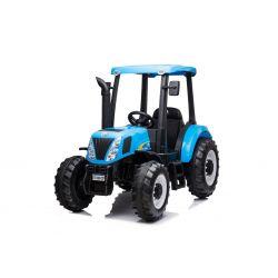 Elektrický traktor NEW HOLLAND-T7 12V, Jednomiestne, modré, Koženkové sedadlo, MP3 Prehrávač s USB vstupom, Zadný pohon, 2x 35W Motor, EVA kolesá, 2,4 GHz Dialkové Ovládanie, Originál licencia