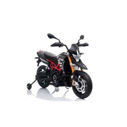Elektrická Motorka APRILIA DORSODURO 900, Licencované, 12V batéria, EVA mäkké kolesá, 2 x 18W motor, Odpruženie, kovový rám, kovová vidlica, pomocné kolieska, Sivé