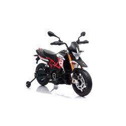 Elektrická Motorka APRILIA DORSODURO 900, Licencované, 12V batéria, EVA mäkké kolesá, 2 x 18W motor, Odpruženie, kovový rám, kovová vidlica, pomocné kolieska, červené