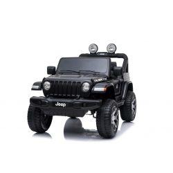 Zánovné elektrické autíčko JEEP Wrangler, Dvojmiestne, čierne, Kožené sedadlá, Rádio s Bluetooth prehrávačom, SD/USB vstup, Pohon 4x4, 12V10Ah Batéria, EVA kolesá, Odpružené nápravy, 2,4 GHz Dialkové Ovládanie