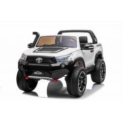 Elektrické autíčko Toyota Hilux 4X4, biele, 2 x 12V/10 Ah batéria, EVA kolesá, Kvalitné odpruženie, LED svetlá, čalúnené sedadlo, 2,4 GHz DO, kľúč, 4X4 Pohon, Dvojmiestne, USB, SD karta, Bluetooth ORGINAL licencia