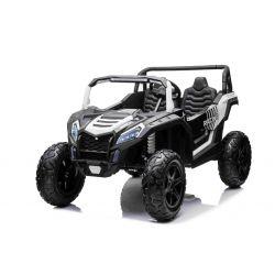 Elektrické autíčko UTV XXL 24V, biele, dvojmiestne, výkonny motor s diferenciálom, Nafukovacie gumené kolesá, odpružené zadné nápravy, kotúčová brzda, čalúnené sedadlo, nastaviteľný volant, bluetooth, MP3 prehrávač so vstupom USB/SD