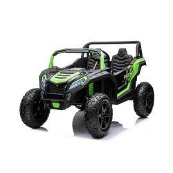 Elektrické autíčko UTV XXL 24V, zelené, dvojmiestne, výkonny motor s diferenciálom, Nafukovacie gumené kolesá, odpružené zadné nápravy, kotúčová brzda, čalúnené sedadlo, nastaviteľný volant, bluetooth, MP3 prehrávač so vstupom USB/SD