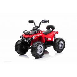 Elektrická štvorkolka SUPERPOWER 12V, červené, Plastové kolesá s gumeným pásom, 2 x 45W Motor, plastová sedanka, odpruženie, 12V7Ah batéria, MP3 Prehrávač