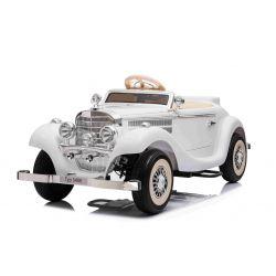 Elektrické autíčko Mercedes-Benz 540K 4x4 Biele, Lokálne ovládanie na volante pre dospelého, Pohon 4x4, 12V14AH Batéria, EVA kolesá, Čalúnené sedadlo, 2,4 GHz DO, MP3 Prehrávač, USB, Bluetooth, Originál licencia
