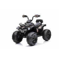 Elektrická štvorkolka SUPERPOWER 12V, čierne, Plastové kolesá s gumeným pásom, 2 x 45W Motor, plastová sedanka, odpruženie, 12V7Ah batéria, MP3 Prehrávač