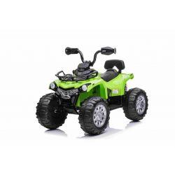 Elektrická štvorkolka SUPERPOWER 12V, zelené, Plastové kolesá s gumeným pásom, 2 x 45W Motor, plastová sedanka, odpruženie, 12V7Ah batéria, MP3 Prehrávač