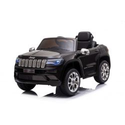 Elektrické autíčko JEEP GRAND CHEROKEE 12V, čierne, Koženkové sedadlo, 2,4 GHz dialkové ovládanie, USB / AUX Vstup, Odpruženie, 12V batéria, Mäkké EVA kolesá, 2 X 35W MOTOR, ORIGINAL licencia