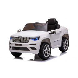 Elektrické autíčko JEEP GRAND CHEROKEE 12V, biele, Koženkové sedadlo, 2,4 GHz dialkové ovládanie, USB / AUX Vstup, Odpruženie, 12V batéria, Mäkké EVA kolesá, 2 X 35W MOTOR, ORIGINAL licencia