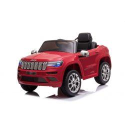 Elektrické autíčko JEEP GRAND CHEROKEE 12V, červené, Koženkové sedadlo, 2,4 GHz dialkové ovládanie, USB / AUX Vstup, Odpruženie, 12V batéria, Mäkké EVA kolesá, 2 X 35W MOTOR, ORIGINAL licencia
