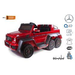 Elektrické autíčko Mercedes-Benz G63 6X6, červené lakované, LCD obrazovka, 6 Kolies, Podsvietené kolesá, Pohon 4x4, 12V14AH, Prenosné batérie, EVA kolesá, Čalúnené sedadlo, 2,4 GHz DO, 4 X MOTOR, Dvojmiestne, Dve pedálové tlačidlá