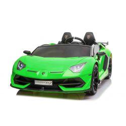 Elektrické autíčko Lamborghini Aventador 12V Dvojmiestne, Zelené, 2,4 GHz dialkové ovládanie, USB / SD Vstup, odpruženie, vertikálne otváravé dvere, mäkké EVA kolesá, 2 X MOTOR, ORIGINAL licencia