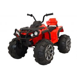 Elektrická štvorkolka HERO 12V, červené, mäkké kolesá, 2,4 GHz DIALKOVÉ OVLÁDANIE, kožená sedanka, odpružené, 12V7Ah batéria