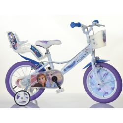 """DINO Bikes - Detský bicykel 16"""" Dino 164RF3 so sedačkou pre bábiku a košíkom - Frozen 2"""