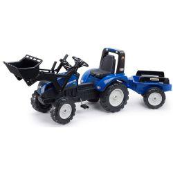 FALK Šliapací traktor 3090M New Holland T8 s nakladačom a vlečkou