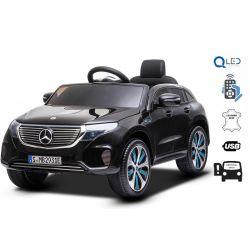 Elektrické autíčko Mercedes-Benz EQC, 12V, 2,4 GHz dialkové ovládanie, USB / SD Vstup, odpruženie, 12V/7Ah batéria, LED Svetlá mäkké EVA kolesá, 2 X MOTOR, čierne, ORIGINÁL licencia